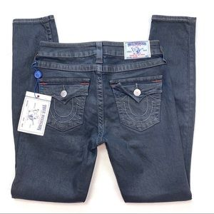 True Religion Leggings w/ Flap Black Coated Jeans